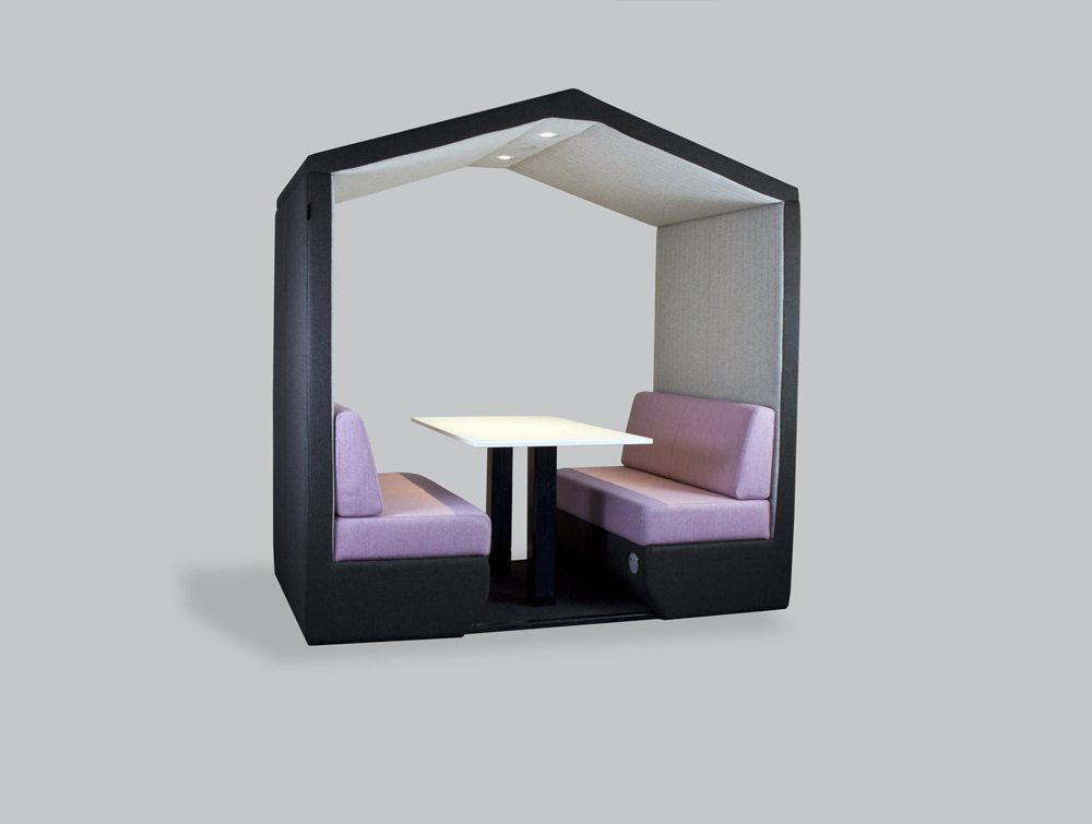 Bea 4 seater meeting pod with pink cushion and overhead LED light