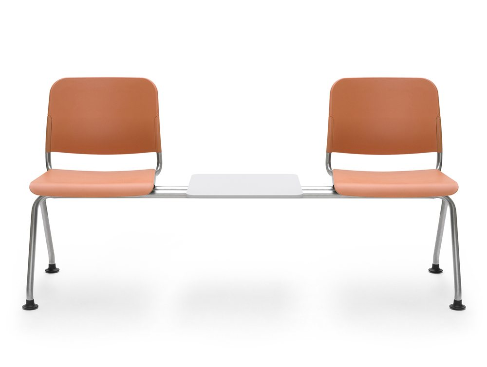 Beam Seating 2 Seater with Table in Orange