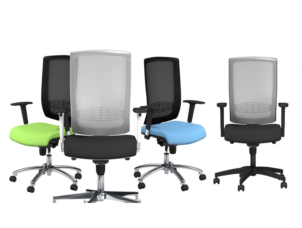 Begin Black and Grey Mesh Back Operator Chairs with Lumbar Support and Adjustable Arms