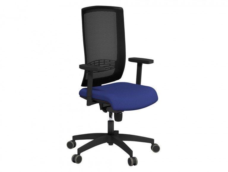 Begin Mesh High Backrest Black Swivel Chair with Black Nylon Base in E031 Navy and Black Mesh