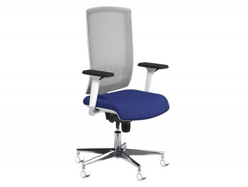 Begin Mesh High Backrest White Swivel Chair with Chrome Base in E031 Navy and Grey Mesh