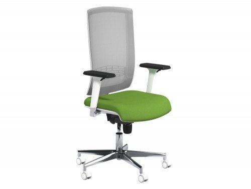 Begin Mesh High Backrest White Swivel Chair with Chrome Base in E051 Green and Grey Mesh