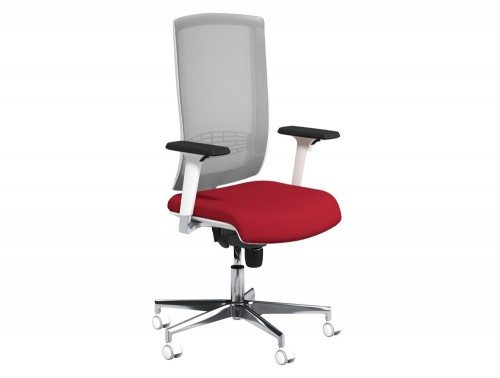 Begin Mesh High Backrest White Swivel Chair with Chrome Base in E090 Red and Grey Mesh