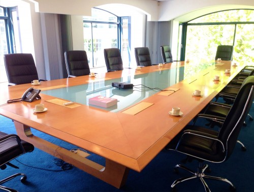 Bespoke Triangular Boardroom Table with Glass Insert