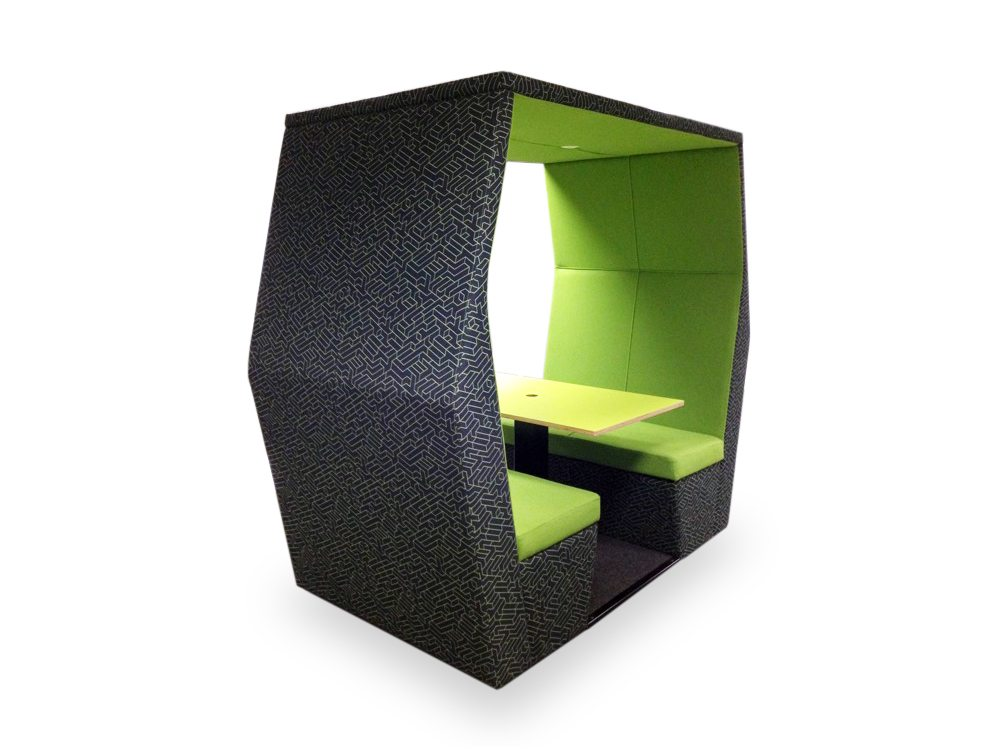 Bill 4 seater meeting pod without wall in fresh green colour