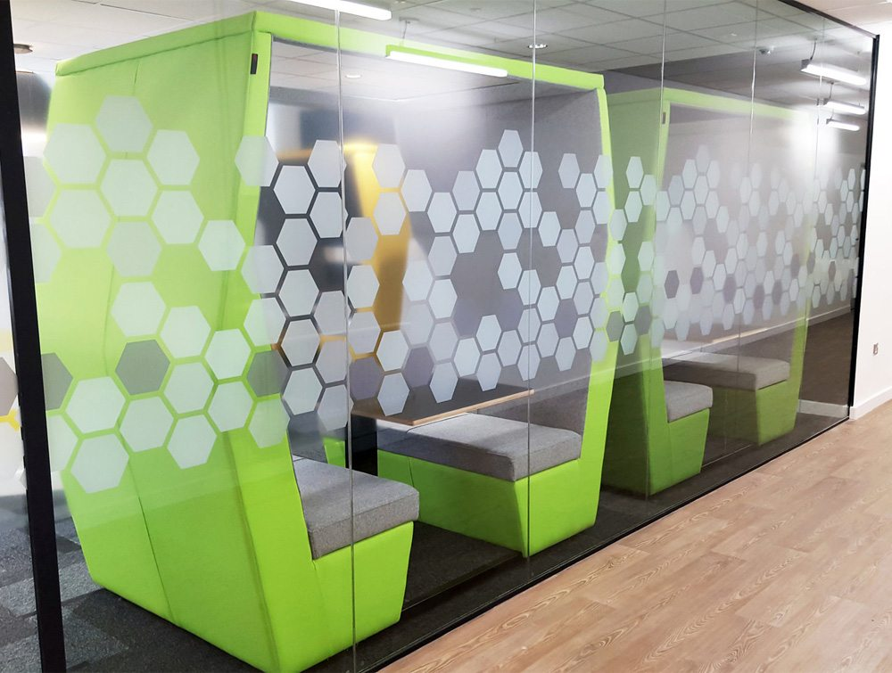 Bill meeting pod office with funky green colours