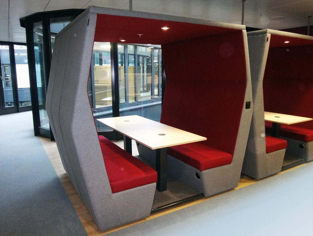 Bill meeting pod red colour withoutwall in Office rooms with overhead led lights