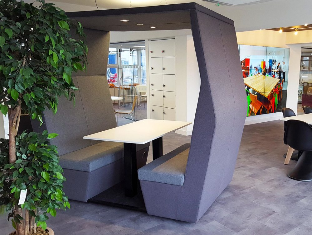 Bill meeting pods withoutwall in Office rooms with overhead led lights