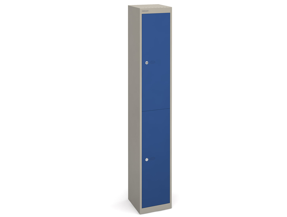Bisley CLK Metal Locker - Grey and Blue Finish - 2-Door