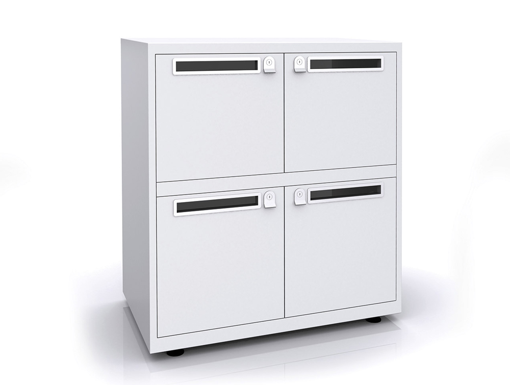 Bisley Essentials Four Door Lodge in White with Letterboxes