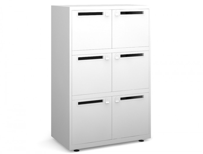 Bisley Essentials Six Door Lodge in White with Letterboxes