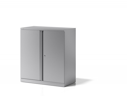 Bisley Essentials Steel Cupboard with 1 Shelf in Grey Side