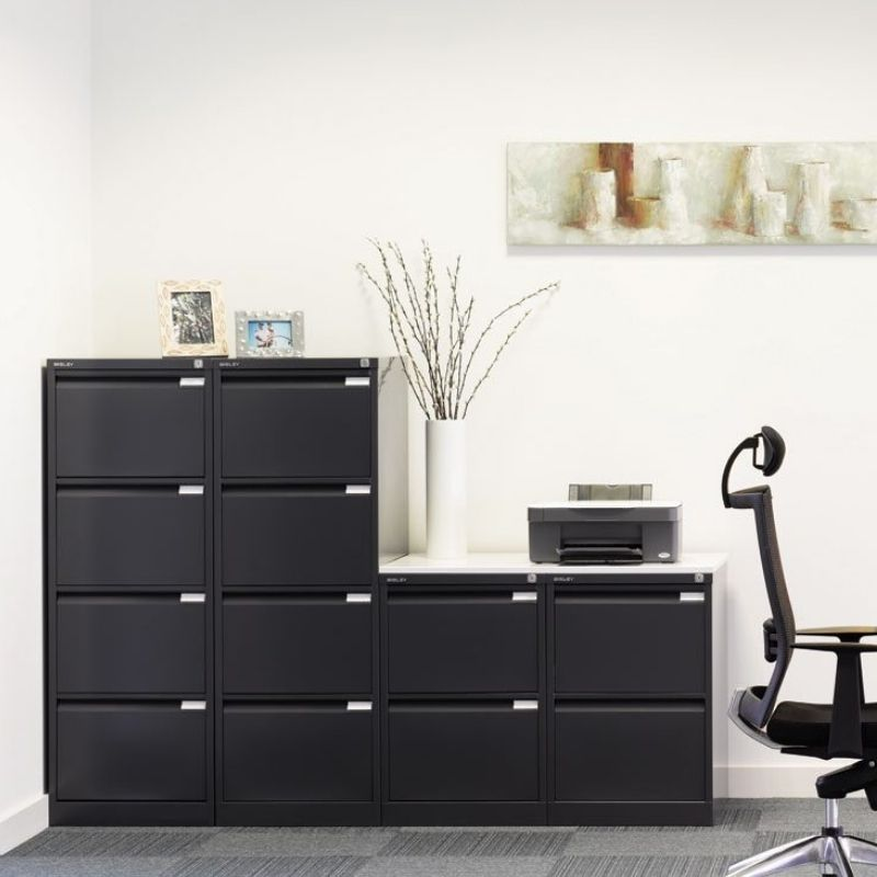 Bisley Filing Cabinets in Black and White Finish