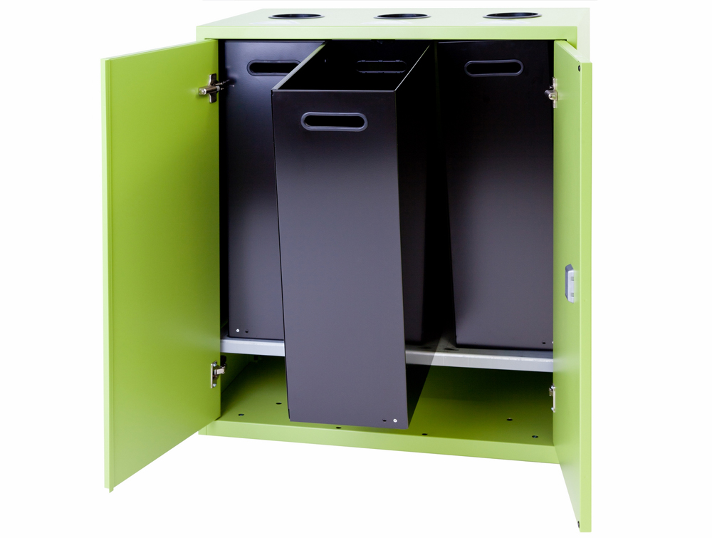Bisley Lateralfile Top-Access Recycling Lime Green Color Doors with Black Containers