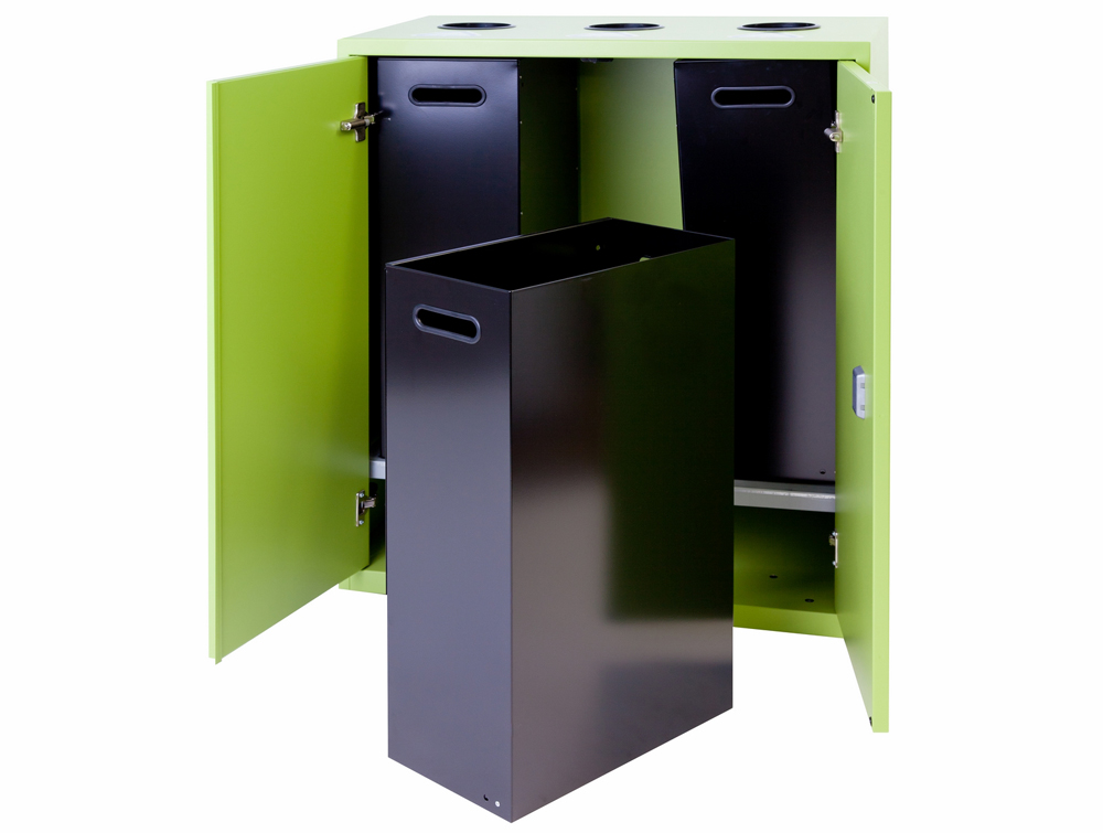 Bisley Lateralfile Top-Access Recycling Lime Green Unit with Black Containers