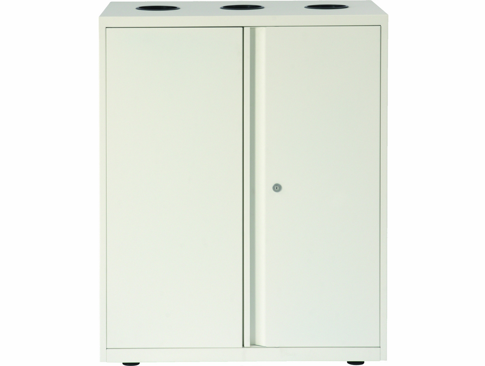 Bisley Lateralfile Top-Access Recycling Unit in White Frontview with Locker