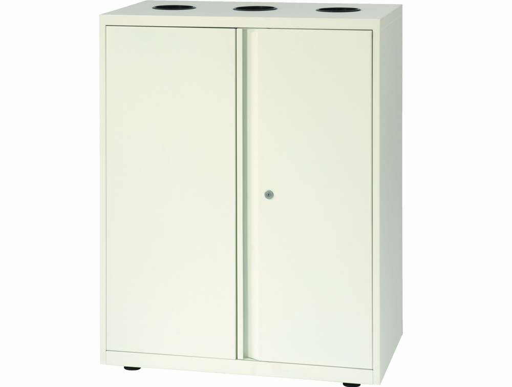 Bisley Lateralfile Top-Access Recycling White Unit with Locker Sideview