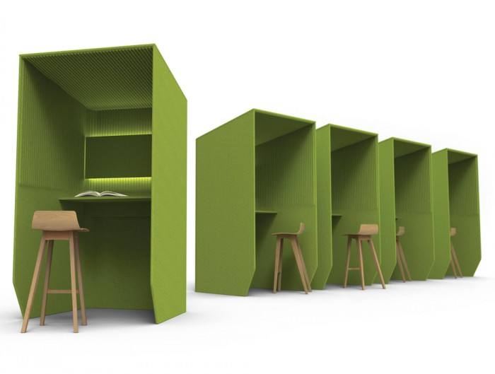 BizziBooth-Standing-Acoustic-Workstation-Pod-Green-with-Wooden-Stools-and-Lights