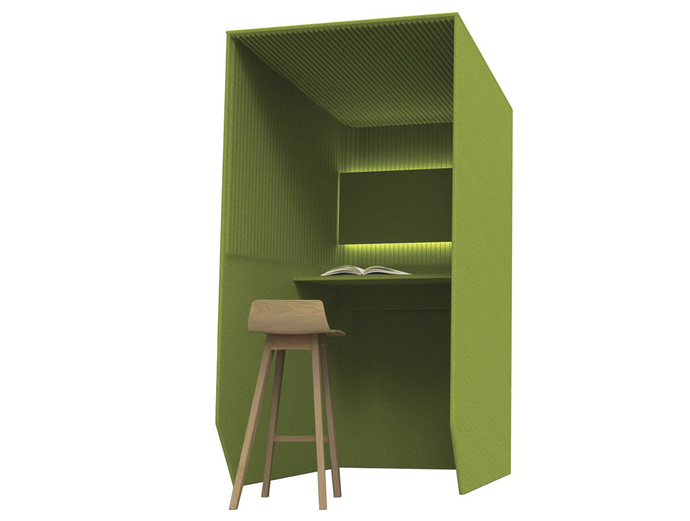 Bizziboth-Standing-Acoustic-Workstation-Pod-Green-with-Breech-Stool-and-Lights