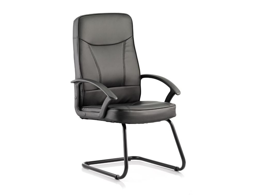 Blitz Visitor Cantilever Black Chair Black Bonded Leather With Arms Featured Image