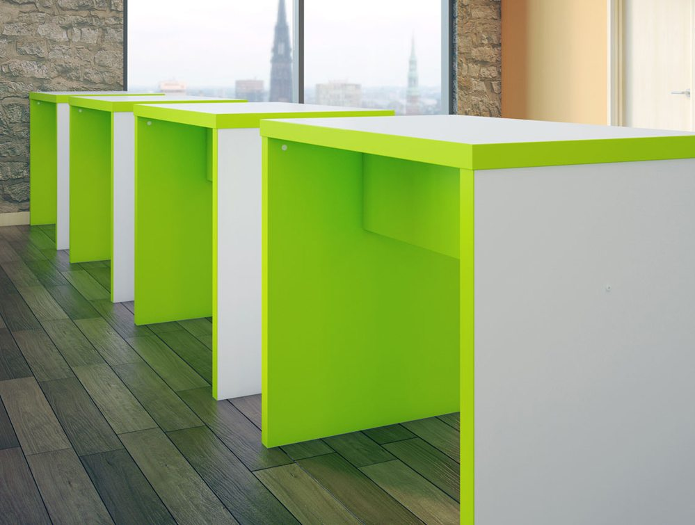 Block Colour Posuer Canteen Table in Green and White