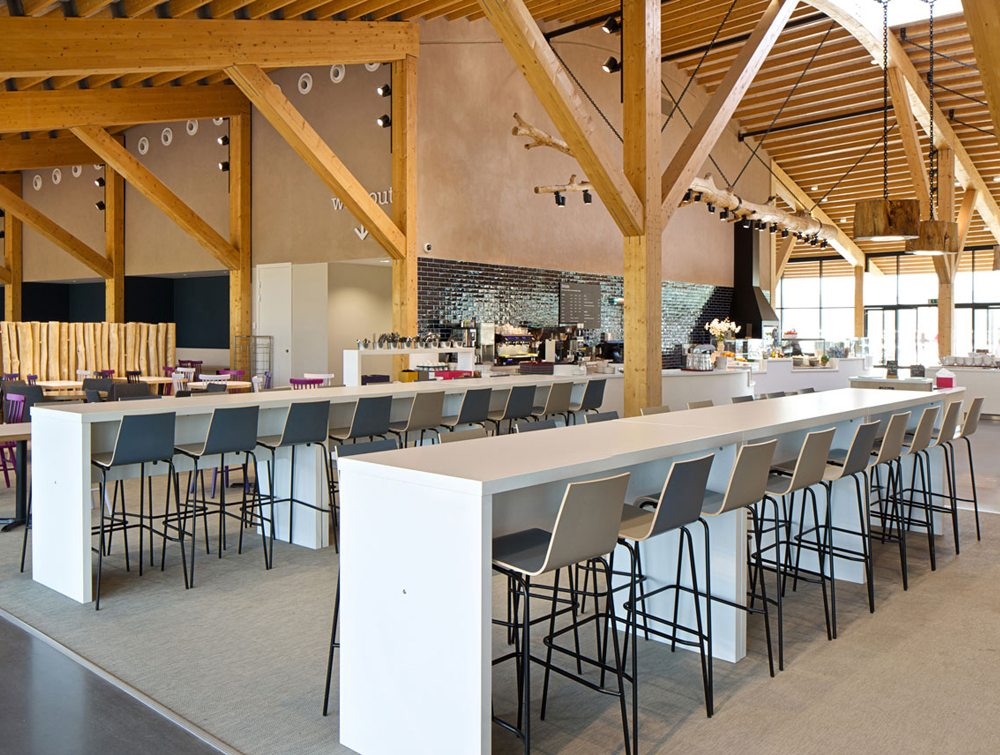 Block Colour Poseur Canteen Table in a Canteen