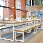Block Steel White Canteen Table and Benches in a Canteen