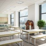 Block Steel White Canteen Table and Benches in an Office