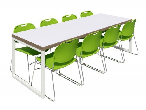 Block Steel White Canteen Table with Green Chairs