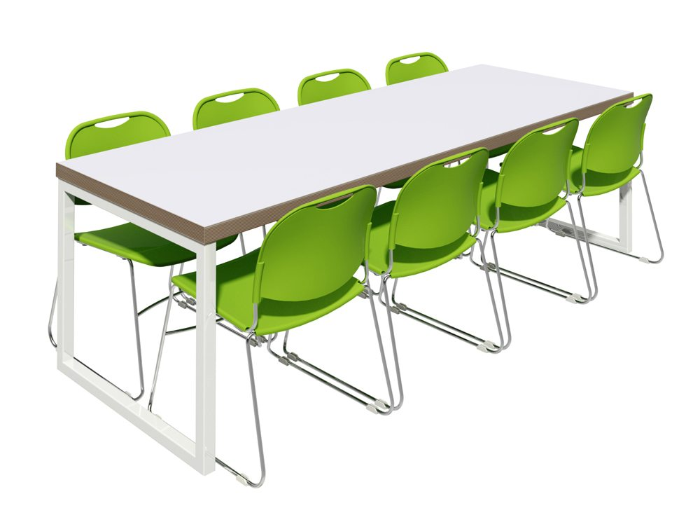 Block Steel White Canteen Table