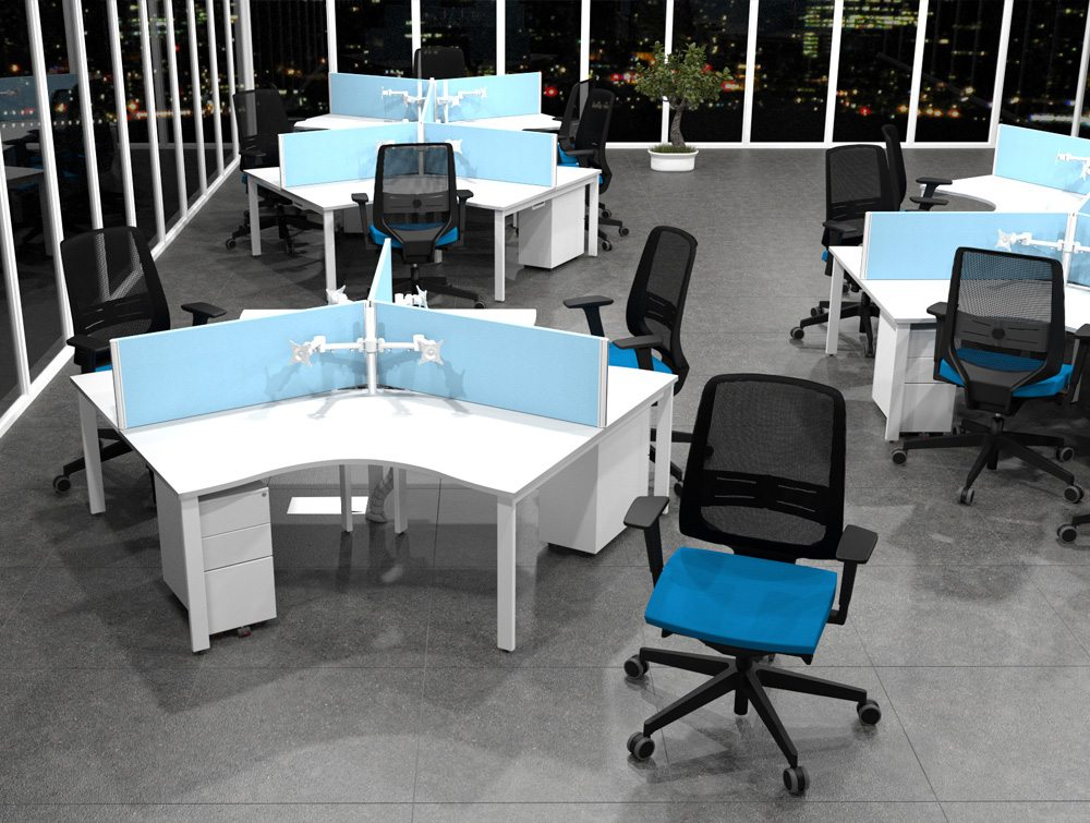 Blue Office Chairs with Matching Desk Mounted Screens on All White Switch Desks