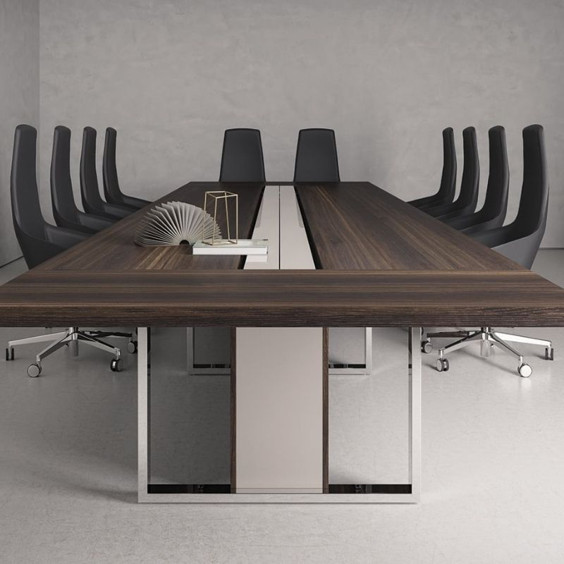 Boardroom Table with Swivel Chairs in Black