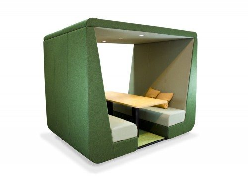 Bob meeting pod without wall in green colour with overhead led lights