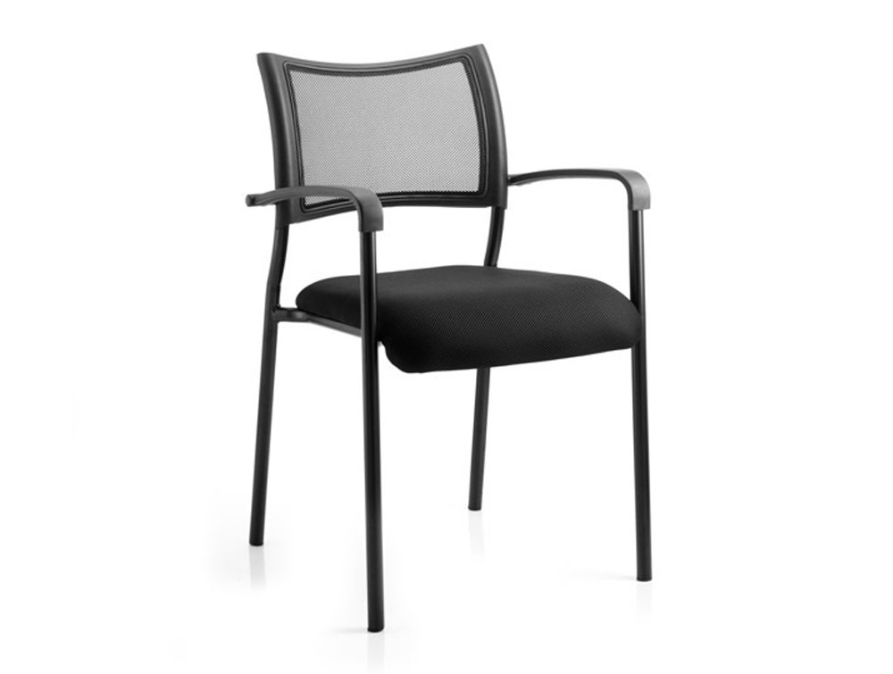 Brunswick Visitor Black Fabric Chair With Arms Black Frame Image 1