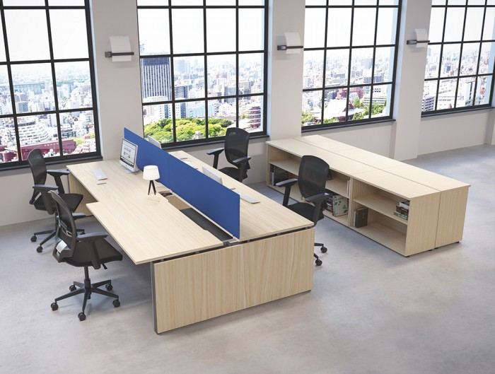 Buronomic Astro Desk for Open Space 6 with blue division on top with black chairs and in office.jpg