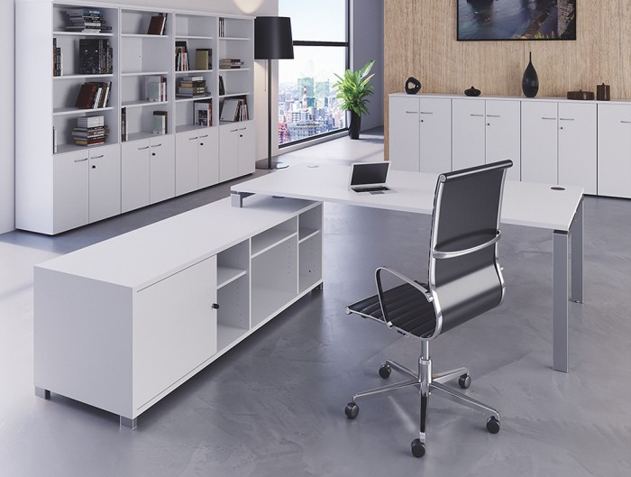Buronomic Astro Executive Sober Desk 5 with return storage unit fitted with a hinged door.jpg