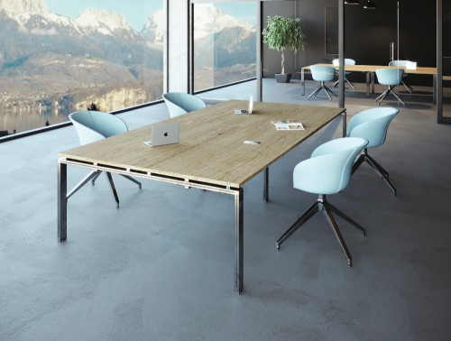 Buronomic Astro-Meeting Multiple Composition Table 2 in Natural Top Finish with White Chair in Meeting Area.jpg