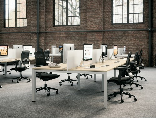 Buronomic Astrolite Shared Desk for Modest Budget 2 with black seats in an office setting.jpg