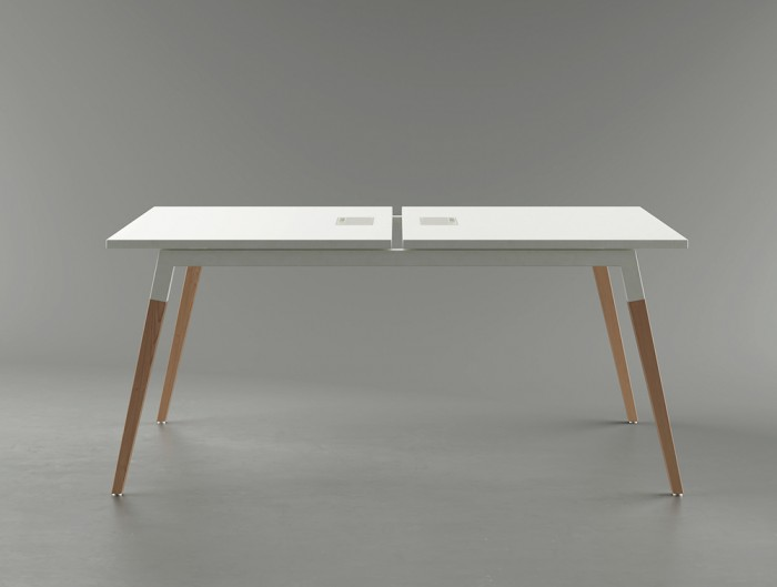 Buronomic Dialogue Natural Shared Desk 2 White Table with Wood finish legs and in Grey Room.jpg