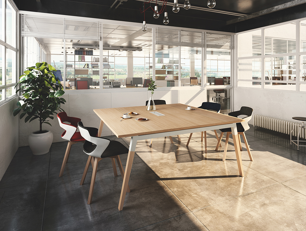 Buronomic Dialogue Natural Shared Desk 3 with wood finish top and with vase.jpg