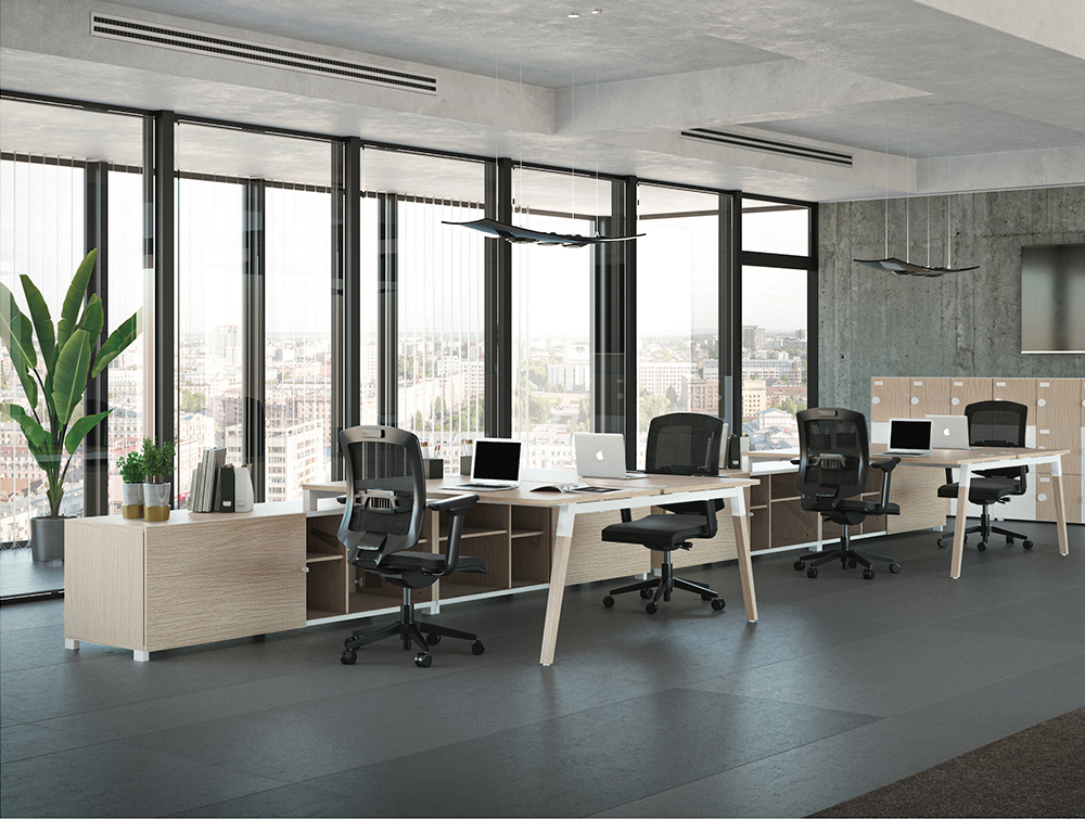 Buronomic Dialogue Natural Shared Desk 4 with wood finish top and in office.jpg