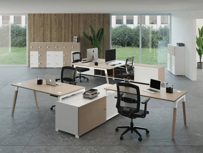 Buronomic Dialogue Natural Shared Desk 5 with wood finish top with macbook on top.jpg