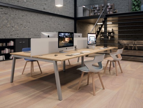 Buronomic Partage Trapezium Leg Desk 2 with wood finish tabletop with division and in a library setting.jpg