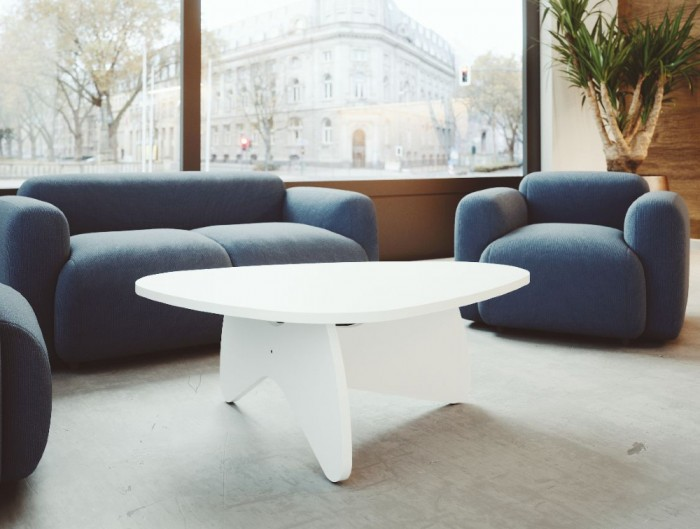 Buronomic Pebble Design Coffee Table 2 in White Finish with Grey Sofa in Lounge Area.jpg