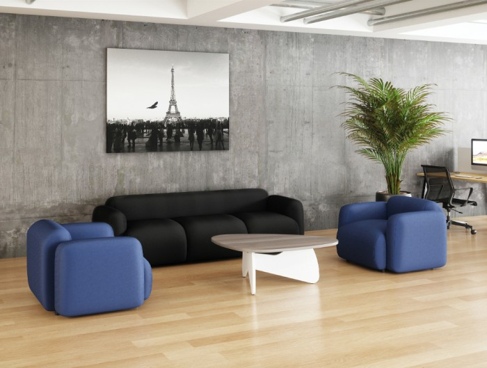 Buronomic Pebble Design Coffee Table 3 with White Leg and Cedar Top with Blue Sofa in Lounge Area.jpg