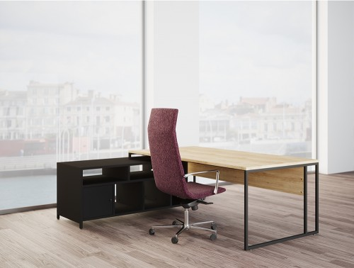 Buronomic Stricto Executive Desk of Character 2 with Wood finish Top and Red office chair.jpg