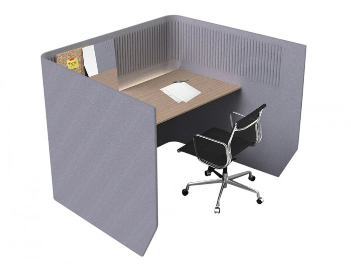 Buzzi-Targa-Acoustic-Open-Workstation-Pod-Grey-with-Brown-Desk-and-Black-Mesh-Chair