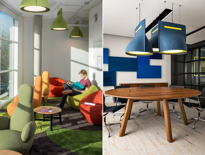 BuzziBell-Acoustic-Pendant-Ceiling-Light-Meeting-Room-or-Cosy-Space-Green-and-Black-or-Blue-and-Yellow