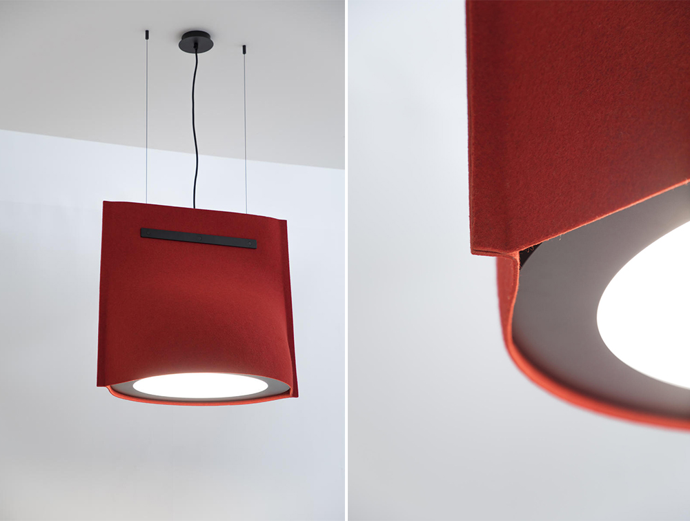 BuzziBell-Acoustic-Pendant-Ceiling-Light-Red-and-Black-Felt