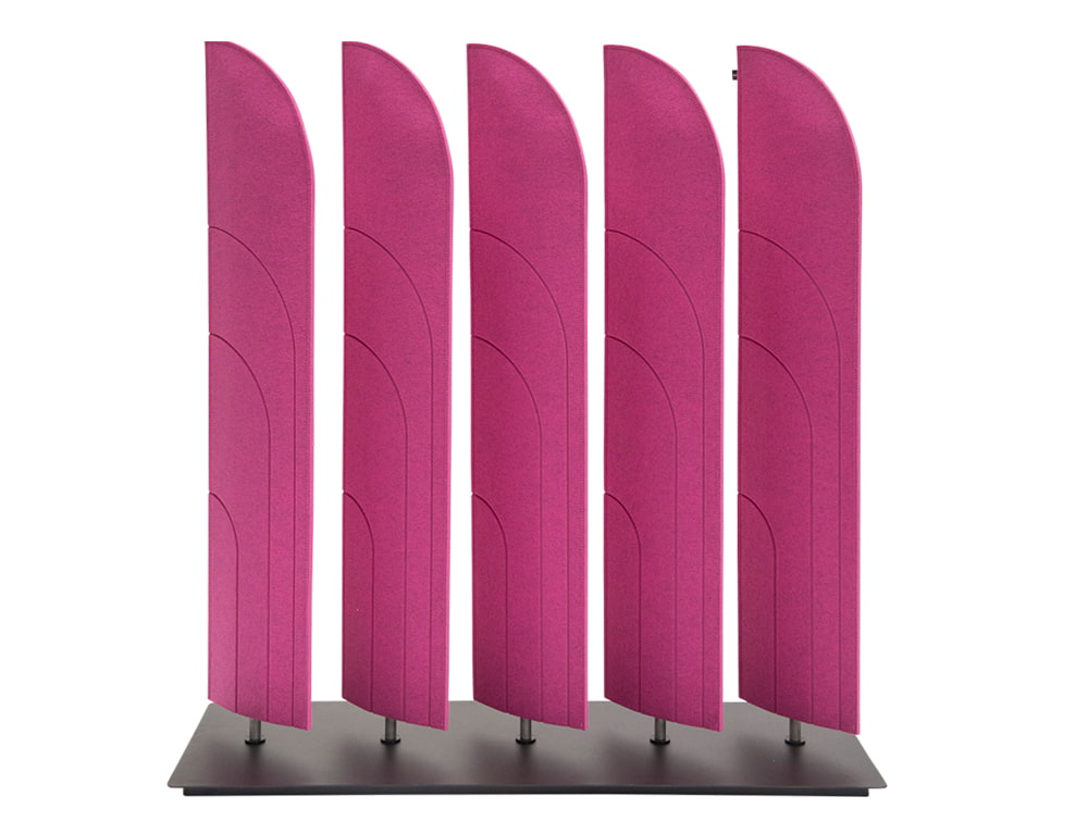 BuzziBlinds Beach V Cut Freestanding Acoustic Screen Fuschia with Black Baseplate